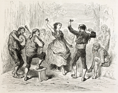 Man and woman dancing Jota aragonesa, traditional Spanish dance. Created by Gustave Dore, published on Le Tour Du Monde, Paris, 1867