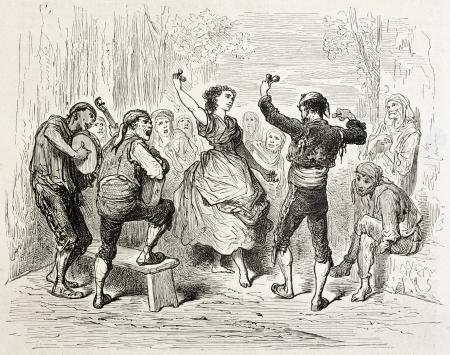 aragon: Man and woman dancing Jota aragonesa, traditional Spanish dance. Created by Gustave Dore, published on Le Tour Du Monde, Paris, 1867