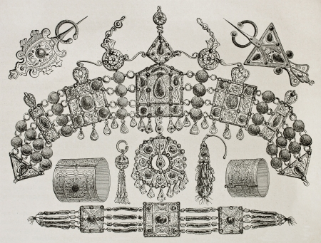 Kabylia jewels old illustration. Created by Duhousset, published on Le Tour Du Monde, Paris, 1867