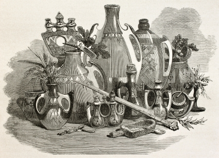Kabylian pottery and utensils, Algeria. Created by Stop after Duhousset, published on Le Tour Du Monde, Paris, 1867