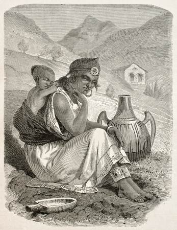 northern african: Old engraved portrit of a Kabylian woman and son, Algeria. Created by Stop, Gauchard and Brunier, published on Le Tour Du Monde, Paris, 1867