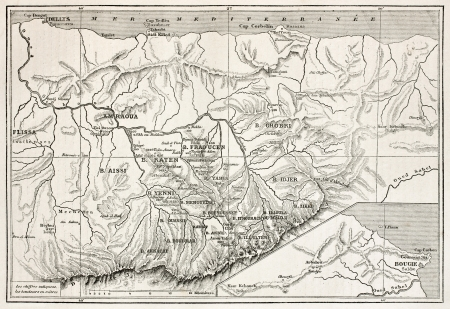 Kabylie old map, Algeria. Created by Erhard, published on Le Tour Du Monde, Paris, 1867 Stock Photo - 15181150