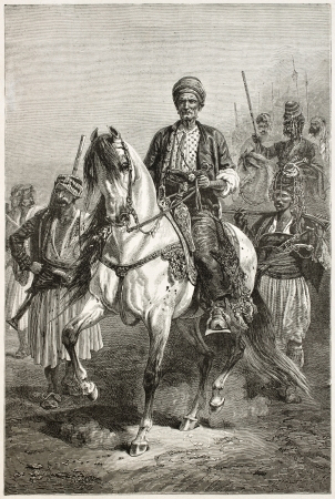 Kara Fatma old equestrian engraved portrait, Kurdish princess. Created by Neuville, published on Le Tour du Monde, Paris, 1867