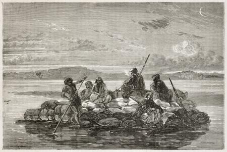 Kelek on Tigris river old illustration (traditional barge). Created by Neuville after Lejean, published on Le Tour du Monde, Paris, 1867