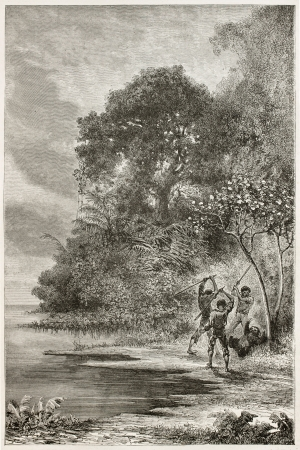 toed: Men killing Three-toed sloth along Amazon river bank. Created by Riou and Sargent, published on Le Tour du Monde, Paris, 1867