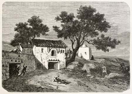 african ancestry: Koukou mosquee and Marabouts house, Algeria. Created by Dohousset, published on Le Tour du Monde, Paris, 1867