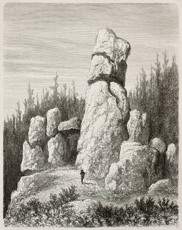 black ancestry: Kussenstein rocks old view, Germany. Created by Stroobant, published on Le Tour Du Monde, Paris, 1867 Editorial
