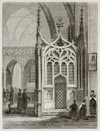 black ancestry: Notre-Dame church interior in Lautenbach, Germany. Created by Stroobant, published on Le Tour Du Monde, Paris, 1867
