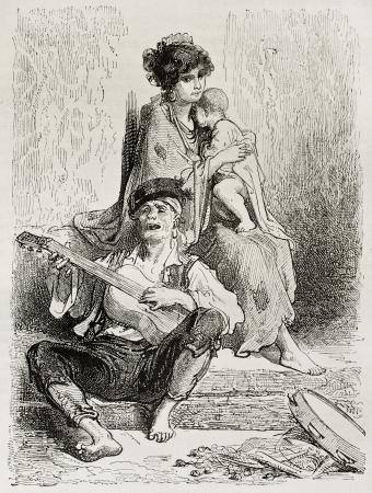 itinerant: La Conchita: Spanish itinerant dancer. Created by Gustave Dore, published on Le Tour Du Monde, Ed. Hachette, Paris, 1867 Editorial