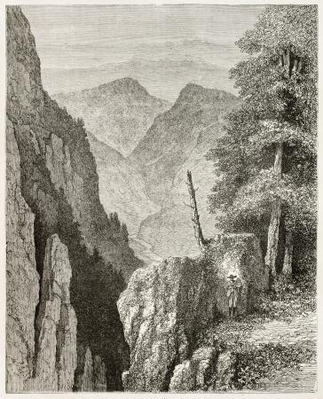 black ancestry: Lierbach valley landscape, Black Forest, Germany. Created by Stroobant, published on Le Tour Du Monde, Paris, 1867