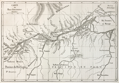 río amazonas: Bajo Amazonas mapa cuenca edad. Creado por Erhard, publicado en Le Tour du Monde, París, 1867