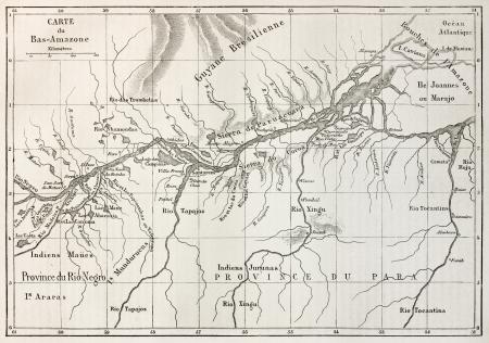 amazonas: Lower Amazon basin old map. Created by Erhard, published on Le Tour du Monde, Paris, 1867