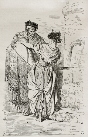 Spanish man and woman at the fountain. Created by Gustave Dore, published on Le Tour Du Monde, Ed. Hachette, Paris, 1867