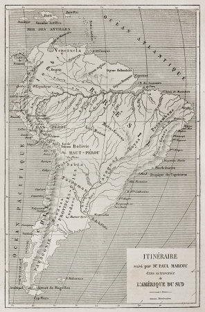 amazonas: French explorer Paul Marcoy itinerary along Amazon river, old map. Created by Erhard, published on Le Tour Du Monde, Paris, 1867