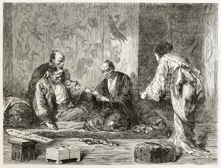 sufferer: Japanese doctor examining patient. Created by Neuville after Japanese painting by unknown author, published on Le Tour Du Monde, Ed. Hachette, Paris, 1867
