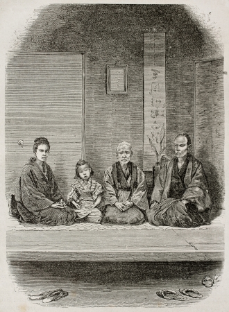 Japanese merchants family old engraved portrait. Created by Neuville after photo by unknown author, published on Le Tour Du Monde, Ed. Hachette, Paris, 1867 Stock Photo - 15181282