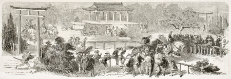 Mikados racecourse in Tokyo, old illustration. Created by Bayard after Japanese miniature by unknown author,  published on Le Tour Du Monde, Ed. Hachette, Paris, 1867