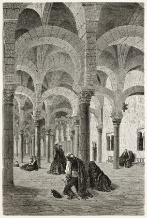 Mosque of Cordoba interior old view, Spain. Created by Gustave Dore, published on Le Tour Du Monde, Paris, 1867 Stock Photo - 15181321