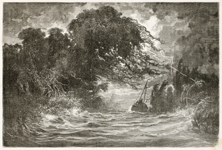 amazonas: Night storm in Breves channel, Amazon basin. Created by Riou and Hildibrand, published on Le Tour du Monde, Paris, 1867