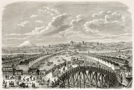 ed: Nippon bridge old view, Yedo (Tokyo). Created by Pelcoq after Japanese painting by unknown author, published on Le Tour Du Monde, Ed. Hachette, Paris, 1867 Editorial