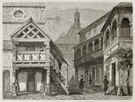 black ancestry: Oberkirch old view, Hermany. Created by Stroobant, published on Le Tour Du Monde, Paris, 1867 Editorial