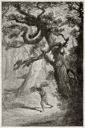 asian ancestry: Man walking  in the forest among old cedars, carrying wood on his shoulder. Created by Neuville after Japanese sketch by unknown author, published on Le Tour Du Monde, Ed. Hachette, Paris, 1867