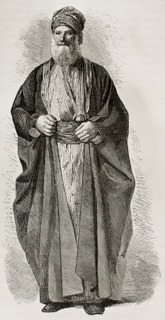 israelite: Old Jew from Babylonia. Created by Bayard after photo of unknown author, published on Le Tour du Monde, Paris, 1867