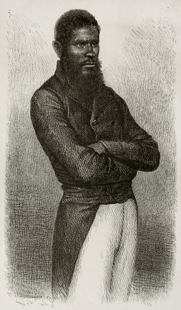 black ancestry: Chief of Ouen isle (New Caledonia) old engraved portrait. Created by Loudet after photo by unknown author, published on Le Tour Du Monde, Paris, 1867 Editorial