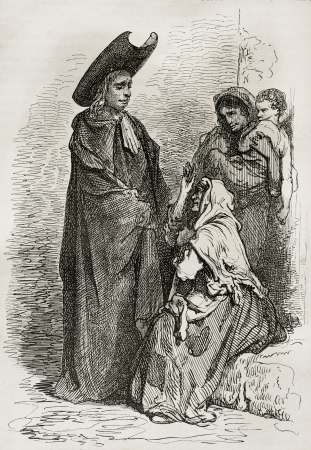 Priest and old woman in La Carolina, Spain. Created by Gustave Dore, published on Le Tour Du Monde, Ed. Hachette, Paris, 1867 Editorial