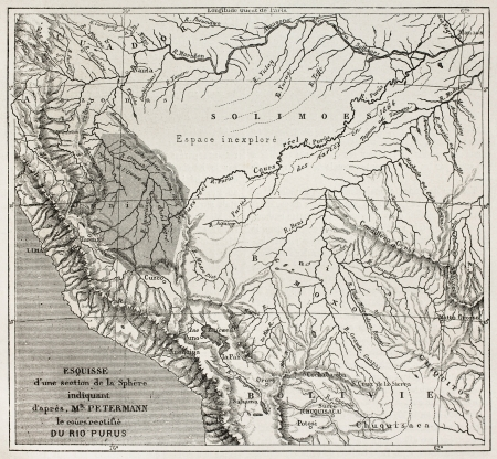 south america map: Purus river basin old map, South America. After sketch by Petermann, published on Le Tour du Monde, Paris, 1867 Editorial