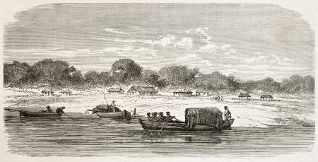 San Jose de Maturi old view, left bank of Amazon river, Brazil. Created by Riou, published on Le Tour du Monde, Paris, 1867