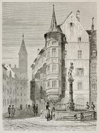 german swiss: Schaffhausen market place old view, German Switzerland. Created by Stroobant, published on Le Tour Du Monde, Paris, 1867