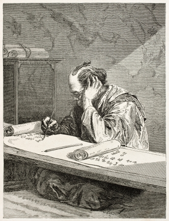 old writing: Japanese scribe old engraved portrait. Created by Neuville after sketch of unknown Japanese author, published on Le Tour Du Monde, Ed. Hachette, Paris, 1867
