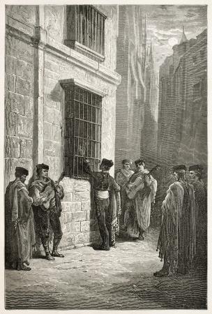 serenata: Serenata en C�rdoba vieja ilustraci�n, Espa�a. Creado por Gustave Dor�, publicado en Le Tour Du Monde, Par�s, 1867