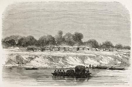 amazon river: Serpa village old view, Brazil. Created by Riou, published on Le Tour du Monde, Paris, 1867 Editorial