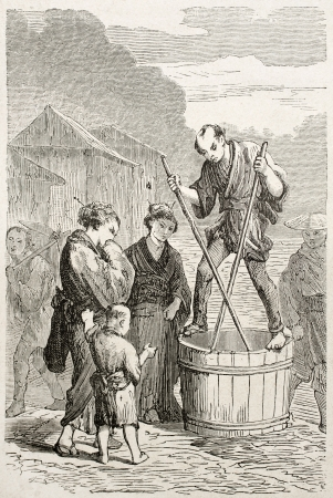 Japanese merchand selling shellfish. Created by Perrin after Japanese sketch by unknown author, published on Le Tour Du Monde, Ed. Hachette, Paris, 1867 Stock Photo - 15181174