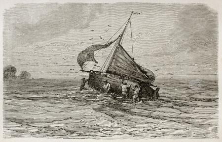 sailing crew: Sloop Santa Marta ship grounding in Limoeiro bay, Brazil. Created by Riou, published on Le Tour du Monde, Paris, 1867