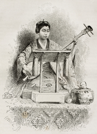 Japanese singer of national lagends, Japan. Created by Neuville after photo of unknown author, published on Le Tour Du Monde, Ed. Hachette, Paris, 1867 Stock Photo - 15181161