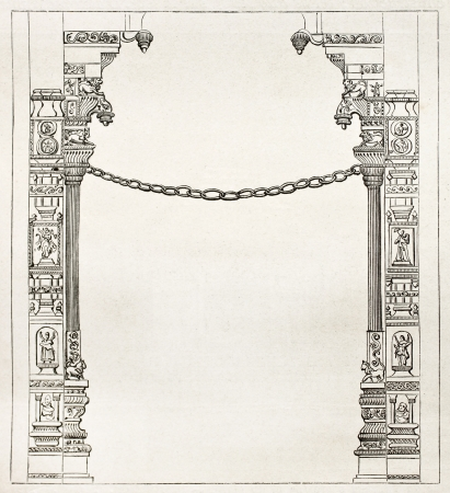 bas: Single stone chain in Chidambaran pagoda, India. Created by Clerget, published on Le Tour du Monde, Paris, 1867