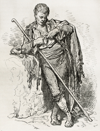 Young Spanish beggar, old illustration. Created by Gustave Dore, published on Le Tour Du Monde, Ed. Hachette, Paris, 1867 Editorial