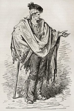 Spanish peasant old illustration (Cordoba surroundings). Created by Gustave Dore, published on Le Tour Du Monde, Ed. Hachette, Paris, 1867 Editorial