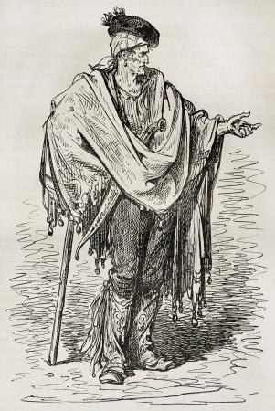 Spanish peasant old illustration (Cordoba surroundings). Created by Gustave Dore, published on Le Tour Du Monde, Ed. Hachette, Paris, 1867