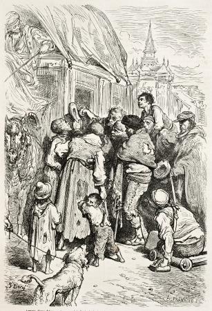 Stagecoach arrival in a inn, Santa Cruz de Mudela, Spain. Created by Gustave Dore, published on Le Tour Du Monde, Paris, 1867 Stock Photo - 15181228