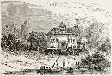 pile dwelling: Sugar factory in Juquiry old view, Brazil. Created by Riou, published on Le Tour du Monde, Paris, 1867 Editorial
