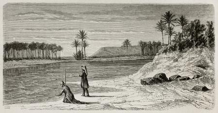 babylonian: S�per flumina Babylonis: Ilustraci�n antigua de Babilonia r�o inspirado a Orlando di Lasso motete. Creado por De Bar despu�s Lejean, publicado en Le Tour du Monde, Par�s, 1867