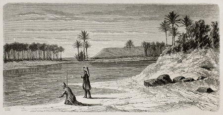 tigris: Super flumina Babylonis: old illustration of  Babylonian river inspired to Orlando di Lasso motet. Created by De Bar after Lejean, published on Le Tour du Monde, Paris, 1867 Editorial