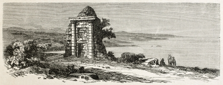 Roman sepulcher in Taksebt, Algeria. Created by Dohousset, published on Le Tour du Monde, Paris, 1867