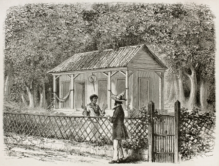 black ancestry: Two men talking from two sides of the fence, old illustration. Created by Riou, published on Le Tour Du Monde, Paris, 1867