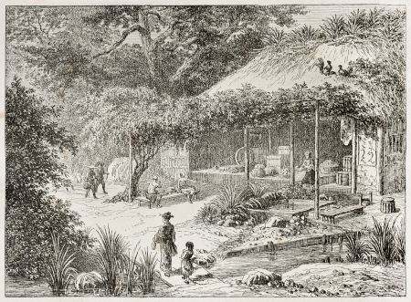 asian ancestry: Japanese tea house in Yedo (Tokyo) surroundings. Created by Lancelot after Japanese engraving by unknown author, published on Le Tour Du Monde, Ed. Hachette, Paris, 1867