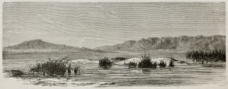 Tigris river near Hamrin, Iraq. Created by De Bar after Lejean, published on Le Tour du Monde, Paris, 1867